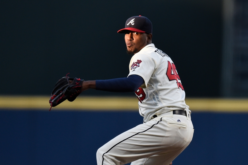 Apr 9, 2016; Atlanta, GA, USA; Atlanta Braves starting pitcher Julio Teheran (49) throws the ball against the St. Louis Cardinals during the first inning at Turner Field. Mandatory Credit: Dale Zanine-USA TODAY Sports